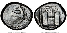 CILICIA. Ura (Celenderis). Ca. mid-5th century BC. AR stater (21mm, 10.49 gm, 12h). NGC VF 3/5 - 4/5. Stag (ibex) recumbent right, head reverted; pell...