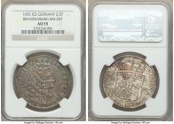 Brandenburg. Friedrich III 2/3 Taler 1692-ICS AU55 NGC, Magdeburg mint, KM557. Light teal hues are apparent on the obverse peripheries while the rever...