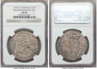 Brandenburg. Friedrich III 2/3 Taler 1693-ICS AU58 NGC, Magdeburg mint, KM557. Overall light gray tone with only the slightest wear on the high points...