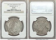 Prussia. Friedrich I 2/3 Taler 1702-HFH XF45 NGC, Magdeburg mint, KM13. Despite the even wear, this piece still holds a lot of its original detail.  H...
