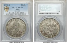 Prussia. Friedrich II Taler 1752-B AU50 PCGS, Bayreuth mint, KM256, Dav-2583. Device details and field luster remain full with the slightest evidence ...