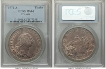 Prussia. Friedrich II Taler 1771-A MS62 PCGS, Berlin mint, KM306.2, Dav-2586. Dark toning and alluring details within the devices.  HID09801242017