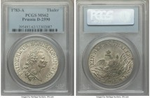 Prussia. Friedrich II Taler 1783-A MS62 PCGS, Berlin mint, KM332.1, Dav-2590. Light gray toning on both sides.  HID09801242017