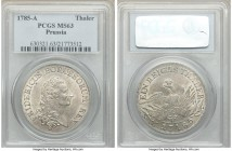 Prussia. Friedrich II Taler 1785-A MS63 PCGS, Berlin mint, KM332.1. Full mint bloom shines through the muted gray toning.  HID09801242017