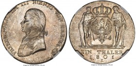 Prussia. Friedrich Wilhelm III Taler 1801-A MS64 NGC, Berlin mint, KM368, Dav-2603. An exceptionally choice example with frosty mint brilliance and so...