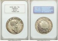 Prussia. Friedrich Wilhelm III Taler 1812-A MS64 NGC, Berlin mint, KM387. Light scattered toning and lustrous fields makes this example alluring to an...