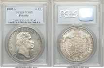 Prussia. Friedrich Wilhelm III 2 Taler 1840-A MS63 PCGS, Berlin mint, KM425. Bright white glimmering surfaces with a highly desirable unbroken luster....