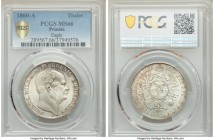 Prussia. Friedrich Wilhelm IV Taler 1860-A MS66 PCGS, Berlin mint, KM471. Bright luster with hardly any abrasions to the surface.  HID09801242017