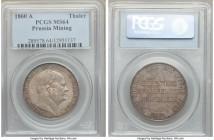 "Prussia. Friedrich Wilhelm IV ""Mining"" Taler 1860-A MS64 PCGS, Berlin mint, KM472. Medium gray tones accompanied by a strong strike.   HID09801242017"
