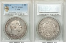 Prussia. Friedrich Wilhelm IV 2 Taler 1850-A MS65 PCGS, Berlin mint, KM440.2. A bold gem, complete with steel-gray tone that dapples the surfaces and ...