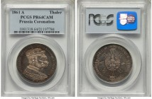 Prussia. Wilhelm I Proof Taler 1861-A PR64 Cameo PCGS, Berlin mint, KM490. A glimmering example with golden obverse tones and blue gray tones on the r...