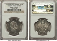 Prussia. Wilhelm I Proof Taler 1861-A PR64 Cameo NGC, Berlin mint, KM489. Despite some slight hairlines, the brilliance of this piece is fascinating t...