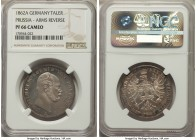 Prussia. Wilhelm I Proof Taler 1862-A PR66 Cameo NGC, Berlin mint, KM489. Muted gray tones, seldom offered in this high of grade. We have never before...