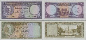 Afghanistan: Pair with 10 Afghanis SH1333 P.30c (UNC) and 100 Afghanis SH1330 P.34b (UNC). (2 pcs.)