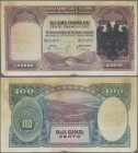 Albania: 100 Franka Ari ND(overprint 1939), P.5, lightly toned paper, margin split and tiny missing part at lower left. Condition: F. Very Rare!