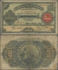 "Angola: 1000 Reis 1909 with Seal Type ""Filial em Loanda"", P.27, margin splits and toned paper. Condition: F. Rare!