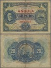 Angola: 20 Escudos 1921, P.59, small border tears, tiny hole at center. Condition: F. Very Rare!
