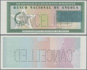 "Angola: Banco Nacional de Angola unissued design proof for a 250 Kwanzas note ND(~1980's), P.NL, unsigned remainder with perforation ""Cancelled"", almo..."