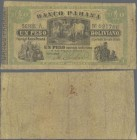 Argentina: Banco Parana 1 Peso Boliviano ND(1868), P.S1815, almost well worn with tiny holes at center. Condition: VG
