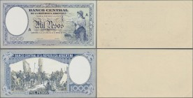 Argentina: Banco Central de la Republica Argentina offset printed front and reverse design proof for 1000 Pesos L.1935 on normal paper, similar to the...