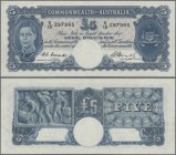 Australia: Commonwealth Bank of Australia 5 Pounds ND(1939-52) with signatures: Coombs & Watt, P.27c, very nice condition, still strong paper and brig...