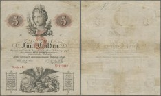 Austria: 5 Gulden 1859, P.A88, still nice and strong paper, traces of tape on back. Condition: F