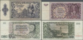 Austria: Very nice set with 8 banknotes comprising 10 Schilling 1950 P.128 (F-), 50 Schilling 1951 P.130 (F) and 6x 100 Schilling 1954 P.133 (F- to F+...