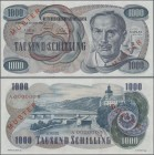 "Austria: Österreichische Nationalbank 1000 Schilling 1961 MUSTER, P.140s, so called ""kleiner Kaplan"", very famous and popular banknote with red overpr..."