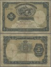 "Azores: Banco de Portugal with Overprint ""MOEDA INSULANA"" on PORTUGAL #83, 5 Mil Reis 1905, P.9, toned paper, some small border tears and tiny holes a..."