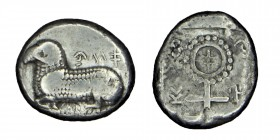 Cyprus, Salamis, Uncertain kings, c. (480-460) BC.   Stater Silver, βα-ν (retrograde) Ram lying left on exergual line; uncertain letter to left. Rev. ...