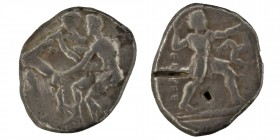 Pamphylia. Aspendos Stater  Sılver Two wrestlers grappling,(magistrate name upward to left), slinger in throwing stance right, triskeles to right, all...