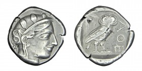 ATTICA. Athens. Tetradrachm (Circa 454-404 BC). Obv: Helmeted head of Athena right, with frontal eye.Rev: AΘE. Owl standing right, head facing; olive ...