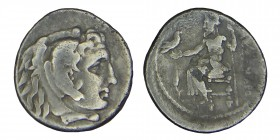 Kings of Macedon. Alexander III, (336-323) BC. sılver drachm, AR Mint of Miletos, struck c. 323-319 BC. Head of Herakles right in lion skin headdress....