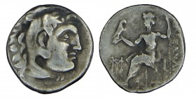 Macedon KİNGDOM. Alexander III, (336-323) BC. Silver, Drachm. Head of Herakles right, wearing lion skin Zeus Aëtophorus seated left; K to left, Condit...
