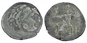 Kings of Macedon. Alexander III. (336-323 BC.) Silver Drachm, Head of Herakles right, wearing lion skin Zeus Aëtophorus seated left; K to left, Condit...