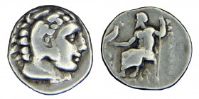 Kings of Macedon, Alexander III. (320-306/5) silver drachm.antigonos, In the name and types of Alexander III. Herakles right, wearing lion skin / Zeus...