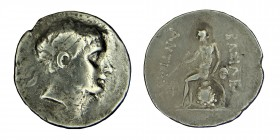 Kings of Macedon. Antiochos III, (222-187) BC.  SELEUKID, EMPIRE, Tetradrachm. Antioch on the Orontes mint. Diademed head right, with sideburn / Apoll...