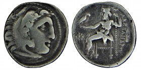 Kingdom of Macedon, Philip III. circa (323-319) BC. Silver, drachm. in the name and types of Alexander III. Kolophon, Head of Herakles right, wearing ...