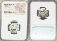 CALABRIA. Tarentum. Ca. 332-302 BC. AR stater or didrachm (22mm, 8h). NGC VF. Sa-, magistrate. Warrior on horseback charging right, shield and two jav...