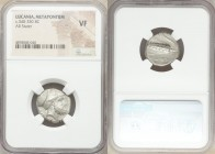 LUCANIA. Metapontum. Ca. 340-330 BC. AR stater (19mm, 3h). NGC VF. S- and Ami-, magistrate. Head of Leucippus right, wearing Corinthian helmet pushed ...