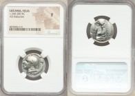 LUCANIA. Velia. Ca. 340-280 BC. AR didrachm or stater (22mm, 3h). NGC Fine. Head of Athena left wearing crested Attic helmet, bowl decorated with grif...