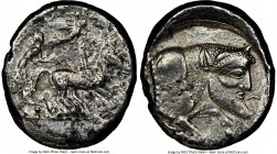 SICILY. Gela. Ca. 480-470 BC. AR tetradrachm (27mm, 6h). NGC VF. Charioteer driving walking quadriga right, on double exergual line; Nike flying right...