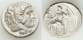 MACEDONIAN KINGDOM. Alexander III the Great (336-323 BC). AR tetradrachm (26mm, 16.69 gm, 11h). AU, porosity. Late lifetime issue of Sidon, uncertain ...