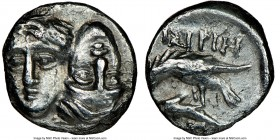 MOESIA. Istrus. Ca. 4th century BC. AR quarter-drachm (11mm, 1h). NGC XF. Two facing male heads side-by-side, the right inverted / IΣTPIH, sea eagle l...