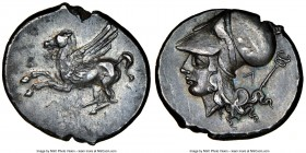ACARNANIA. Leucas. Ca. 4th century BC. AR stater (22mm, 8.53 gm, 6h). NGC Choice XF 4/5 - 4/5. Pegasus with pointed wing flying left; Λ below / Head o...