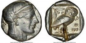 ATTICA. Athens. Ca. 465-455 BC. AR tetradrachm (23mm, 17.19 gm, 7h). NGC Choice XF 5/5 - 2/5, test cut. Head of Athena right, wearing crested Attic he...