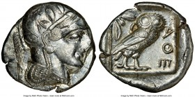 ATTICA. Athens. Ca. 455-440 BC. AR tetradrachm (26mm, 17.19 gm, 7h). NGC MS 3/5 - 4/5. Early transitional issue. Head of Athena right, wearing crested...