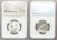 ATTICA. Athens. Ca. 455-440 BC. AR tetradrachm (27mm, 17.16 gm, 1h). NGC VF 5/5 - 4/5. Early transitional issue. Head of Athena right, wearing crested...