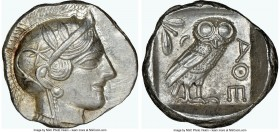 ATTICA. Athens. Ca. 440-404 BC. AR tetradrachm (26mm, 17.24 gm, 6h). NGC MS 5/5 - 4/5. Mid-mass coinage issue. Head of Athena right, wearing crested A...