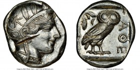 ATTICA. Athens. Ca. 440-404 BC. AR tetradrachm (25mm, 17.19 gm, 6h). NGC Choice AU 5/5 - 2/5, test cut. Mid-mass coinage issue. Head of Athena right, ...